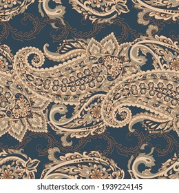 Floral seamless pattern with paisley ornament. illustration in asian textile style
