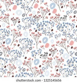 Floral seamless pattern, pastel colors. Suitable for textile design, cosmetics, underwear.