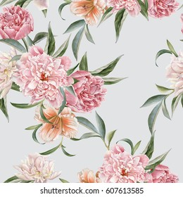 Floral seamless pattern with peonies and lily,