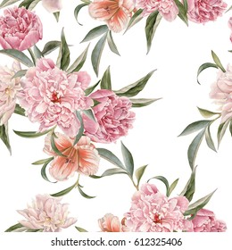 Floral seamless pattern with peonies and lily