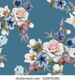 Floral seamless pattern with petunias, hellebore,roses and irises