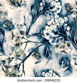 Floral Seamless Pattern. Raster Illustration