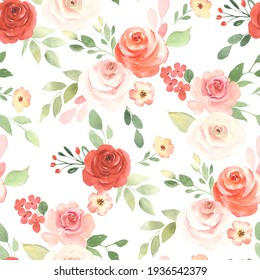 Floral seamless pattern with red and blush roses, small simple flowers, leaves and branches. Watercolor colorful illustration on white background, print in rustic style.