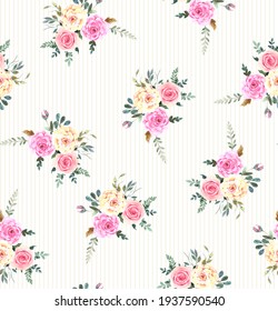 Floral seamless pattern with red and blush roses, small simple flowers, leaves and branches. Watercolor colorful illustration on white background, print in rustic style
