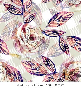 Floral Seamless Pattern with Roses Artistic Background.