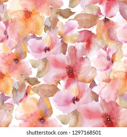 Floral seamless pattern. Sacura flowers.   Watercolor flowers background. Floral fabric design. Sacura flowers.