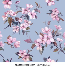 Floral seamless pattern, spring blossom on the blue