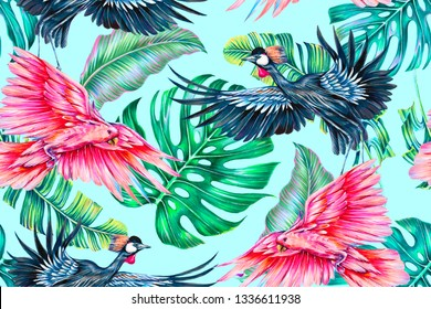Floral seamless pattern with tropical leaves, monstera leaf, cockatoo parrots, grey crowned crane, exotic birds. Decorative botanical illustration wallpaper on blue background