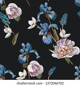 Floral seamless pattern with watercolor anemones, blue irises and white peonies