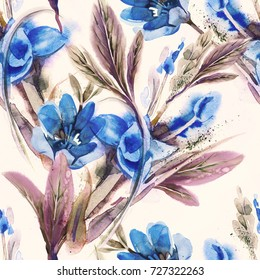 Floral Seamless Pattern. Watercolor Background. Hand Painted Illustration.