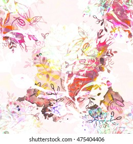 Floral seamless pattern watercolor effect. Textile print for bed linen, jacket, package design, fabric and fashion concepts.