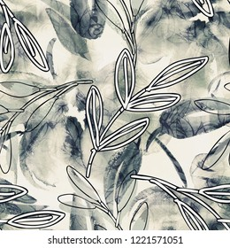 Floral Seamless Pattern. Watercolor Illustration. Hand Painted Background.