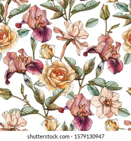 Floral seamless pattern with watercolor irises, roses and narcissus. Background with spring flowers