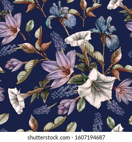Floral seamless pattern with watercolor irises, datura flowers and muscari. Background with spring flowers