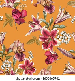 Floral seamless pattern with watercolor lilies, irises, rose and white apple blossom