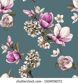 Floral seamless pattern with watercolor  magnolia, cherry blossom and peonies.