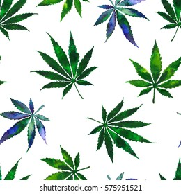 Floral seamless pattern of watercolor marijuana & cannabis leaves. for design and printing on wallpaper & fabric