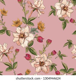 Floral seamless pattern with watercolor narcissus and chrysanthemums