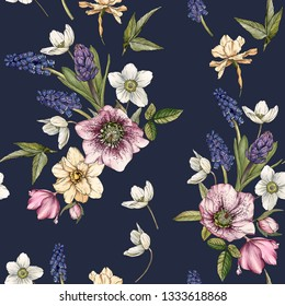 Floral seamless pattern with watercolor narcissus, muscari and hellebore. Background with spring flowers