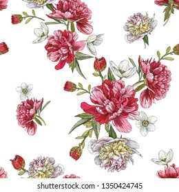 Floral seamless pattern with watercolor peonies and anemones