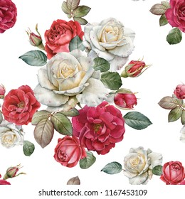 Floral seamless pattern with watercolor red and white roses