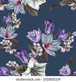 Floral seamless pattern with watercolor tulips and jasmine
