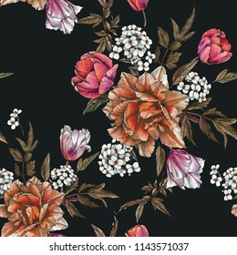 Floral seamless pattern with watercolor tulips and jasmine flower