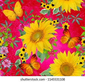 Floral seamless pattern. Yellow sunflowers, green leaves, bright flowers, butterfly