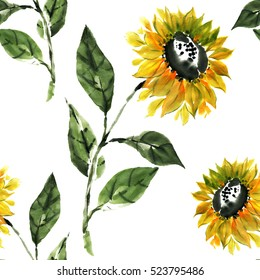 Floral seamless pattern of yellow sunflowers on white background is painted in traditional oriental style. Free brush, watercolor, ink.
