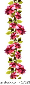 Floral seamless strip border with bright roses flowers
