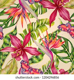 Floral seamless tropical pattern background with exotic flowers, palm leaves, jungle leaf, orchid, bird of paradise flower, butterfly. Vintage botanical hawaiian wallpaper illustration