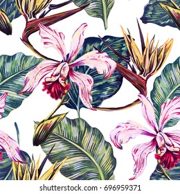 Floral seamless tropical pattern, summer background with exotic flowers, palm leaves, jungle leaf, orchid, bird of paradise flower. Botanical wallpaper, illustration in Hawaiian style
