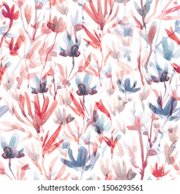 Floral Seamless watercolor abstract pattern.  Fashionable floral design. Hand drawing. Background for textile, paper and other print and web projects. Design for banner, poster or print, for paper, p
