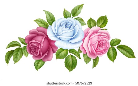 Floral set bouquet bunch of pink, red, blue white vintage rose flowers green  leaves isolated on white background. Digital watercolor illustration.