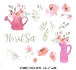 Floral set of pink flowers,watering cans and pitchers  on a white background. Watercolor illustration