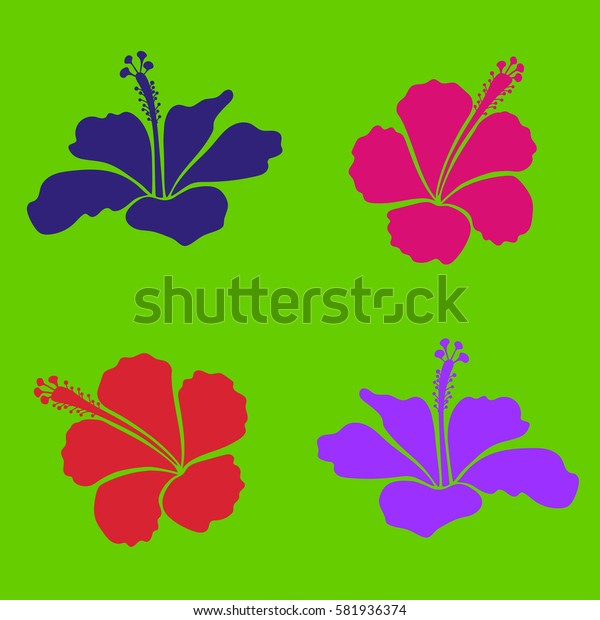 Floral set for wedding invitations, greeting cards, scrapbooking, print, gift wrap, manufacturing fabric, textile. Elegant collection with decorative magenta, violet and red hibiscus flowers.