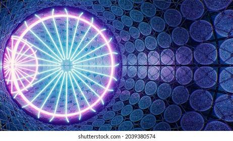 Floral Shape Neon Lamp in Art Tile Fensed Tunnel 3D Rendering