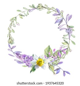 Floral spring composition of a round shape with lilac flowers, daffodils, rose buds and delicate twigs, for postcards, wedding invitations and printing