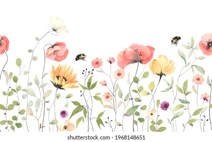 Floral summer horizontal pattern with colorful wildflowers, flying bumblebee and butterfly. Watercolor isolated illustration border, meadow or floral background for your design.