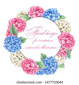 Floral template with pink, blue and white Hydrangea flowers and white round frame in a white background watercolor illustration suitable for wedding invitation card or spring greeting card
