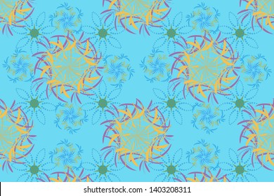 Floral textile print. Blue, violet and yellow stained glass vitrage. Islamic oriental background with abstract flowers. Seamless pattern morrocan ornament.