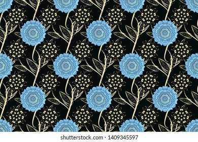 Floral textile print. Islamic raster oriental background with abstract flowers. Seamless pattern morrocan ornament. Black, blue and beige stained glass vitrage.