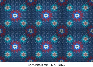 Floral textile print. Seamless pattern morrocan ornament. Purple, gray and blue stained glass vitrage. Islamic raster oriental background with abstract flowers.