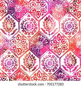 Floral tiles watercolor pattern