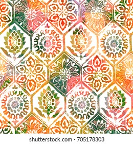 Floral tiles watercolor pattern