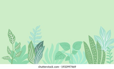 Floral tropical background mint shades
