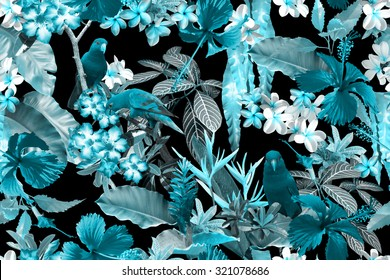 Floral tropical Seamless pattern. Monochrome tropical camouflage tropical trees and flowers. Realistic photo collage of parrots on a branch, hibiscus, plants, leaves on a black background.