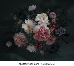 Floral vintage bouquet of peonies, garden flowers, decorative herbs on black background. Template for wedding invitations, holiday greetings, business card, decoration packaging, interior design