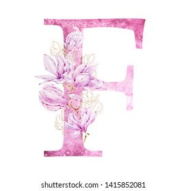 Floral watercolor alphabet art. Combination of pink F letter and magnolia flower to create delicate designs for weddings, logotype, greeting cards, mood boards, magazines