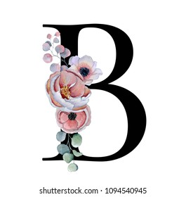 Floral watercolor alphabet. Monogram initial letter B design with hand drawn peony and anemone flower  and black panther for wedding invitation, cards, logos